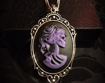 Purple Skeleton Lady Cameo Necklace // Victorian Jewelry // Gothic Cameo // Skull Necklace