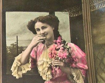 1900s Antique French postcard, Edwardian lady in a coach, RPPC, paper ephemera.