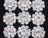 """New- RHINESTONE BUTTON Flat back-15 count-1/2"""" wide"""