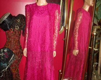 Vintage  Flapper Dress Fuchsia Lace  20-30s Theme  Size 16 1/2