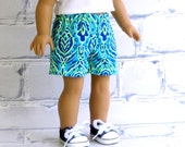 Tropical Paradise, Turquoise Blue Summer Shorts, 18'' American Girl Doll Clothes Twill Short Shorts