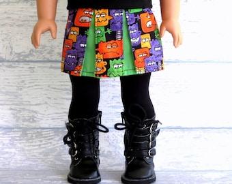 18 inch Doll Skirt, Cute Monsters Skirt, Pleated Mini Skirt, fits 18 inch Dolls