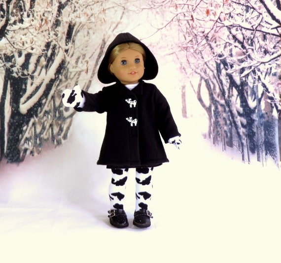 Hooded Winter Coat with Socks and Mittens, 18 inch Doll Clothes Fleece Coat, Cow Print Stockings