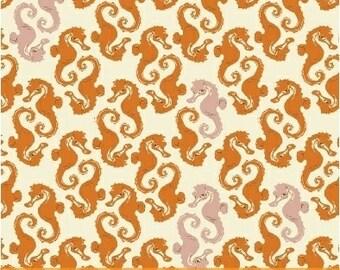 Sea Horses Cream Orange Blush - Heather Ross MENDOCINO 2016 - Windham Fabrics