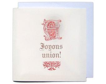 Letterpress Typeset Greetings Card - A Joyous Union
