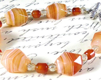 Banded Carnelian Bracelet - 7.5 inches
