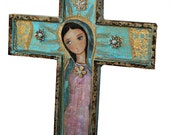 Our Lady of Guadalupe with Angel -  Wall Cross Mixed Media Art by FLOR LARIOS