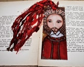 Saint Ignatius -  Laminated Bookmark  Handmade - Original Art by FLOR LARIOS