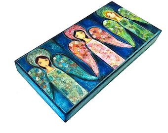 Three Angels -  Giclee print mounted on Wood (3 x 6inches) Folk Art  by FLOR LARIOS