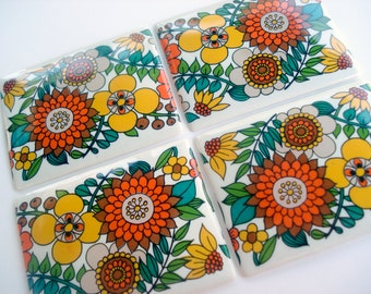 FOUND IN SPAIN -- ceramic tiles with folky pattern - perfect for magnets or knobs