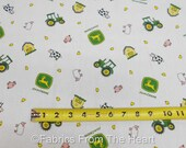 John Deere Childrens Farm Cows Pigs Toss on White BY YARDS Springs Cotton Fabric