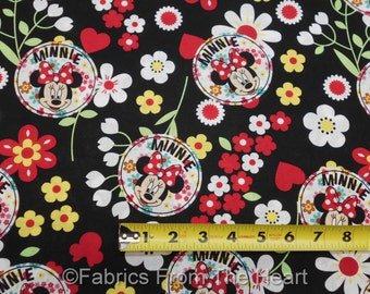 Disney Minnie Mouse w Hearts Flowers Floral Toss on Black BY YARDS Cotton Fabric