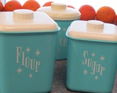 Mid Century Atomic Mod Aqua Starburst Kitchen Canisters Lustro Ware  Set of 4