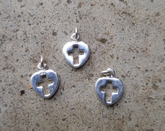 3 Cut-Out Cross Sterling Heart Charms