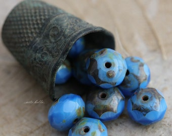 NIKKO .. 10 Picasso Czech Blue Glass Beads 6x8mm (5451-10)