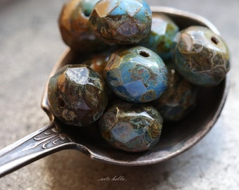LOW TIDE .. 10 Premium Picasso Czech Glass Rondelle Beads 6x9mm (B113-10)