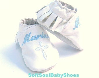 white leather moccasins,  baptism moccs , christening booties , mokassins for baptism , leather baby shoes