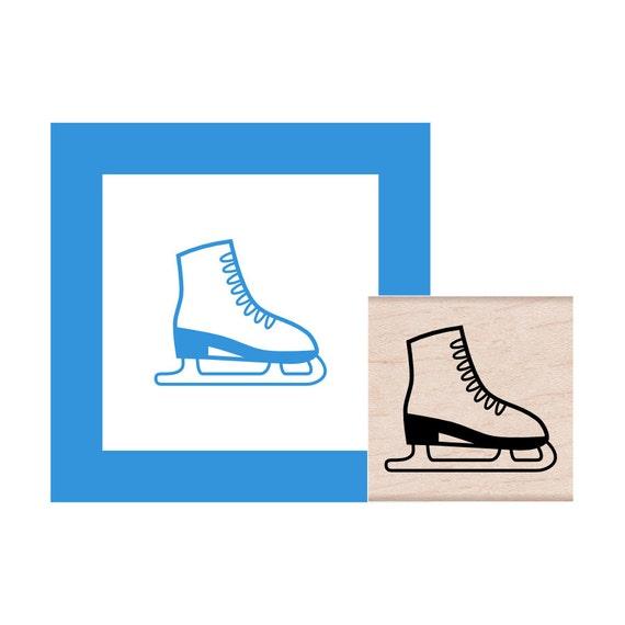 Ice Skate Rubber Stamp