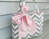 Gray Chevron and Pink Tote Bag, Everyday Handbag, Diaper Bag with Sash Bow