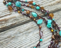 Beaded Necklace, 3x Wrap Necklace / 7x Wrap Bracelet, Teal, Lavender, Copper, Brown,  Bead Bracelet, Long Necklace, Layered, MADE TO ORDER