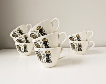 Rooster Coffee Cups Mugs Mid Century Tea Cups