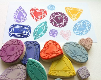set of 10 gemstones, hand carved gem stamps, gemstone rubber stamp set