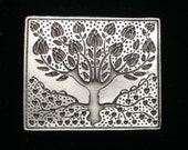 Art Nouveau Tulip Tree Rectangular Brooch Pin - etched design