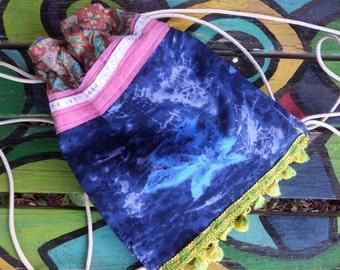 Hippie Backpack, Hippie Back Pack, hippie back sack, festival bag, boho back pack, drawstring back pack,  recycled fabric, small, C94, hobo