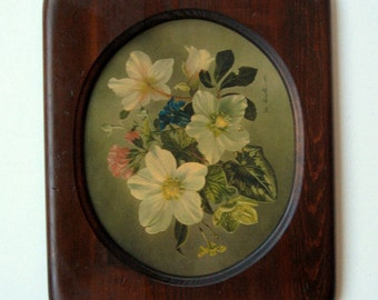 Oval Frame Distressed Vintage 1960's Solid Wood with Image