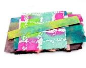 Painted Handmade Paper, Colorful Small Batik Scraps Assortment Paper Pack DIY Art Projects Paper Destash Package