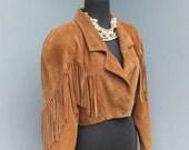 Vintage 1980s Leather FRINGE Jacket, BOHO, Hippie, Cropped Suede Fringe Jacket, Western Style, Cowgirl Jacket, Caramel Suede Jacket