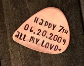 Guitar Pick With Organic Copper Finish- Personalized Date