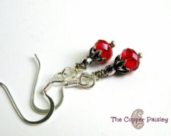 Red rondelle earrings - sparkly petite antique silver everyday earrings