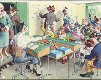 Mainzer cats postcard, vintage postcard, anthropomorphic Vintage Postcard Cat School Mainzer postcard, dressed cats 4964