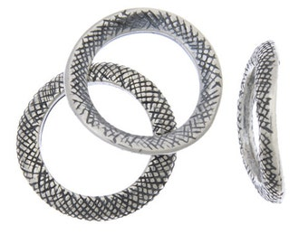 2 Pieces Antique Silver Tone Pewter Base Curved Rings- 18mm (260003)
