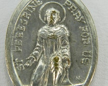 St. Peregrine Pray For Us Mater Dolorosa Vintage Catholic Double Sided Medal 15788