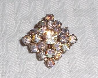 1950s Vintage Small Diamond Shape Aurora Borealis Rhinestone Brooch