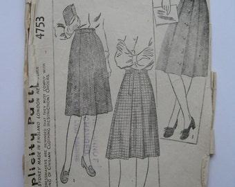 "1940s Skirt - 30"" Waist - Simplicity 4753 - Vintage WW2 Wartime Sewing Pattern"