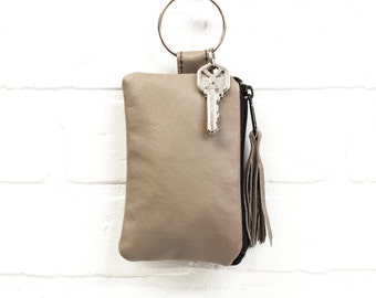 recycled tan leather keychain, wallet, coin purse, key ring, key pouch, leather tassel, card holder, handmade, upcycled, stacylynnc