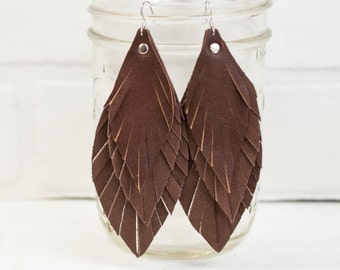 recycled brown leather feather earrings, brown, dangle, feathers, handmade, tassel earrings, ear, jewelry, boho, festival, stacylynnc