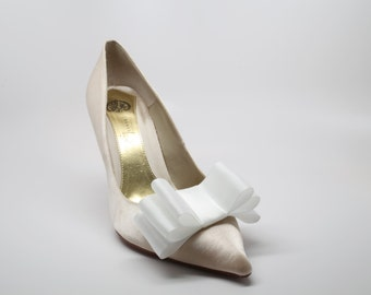 White Satin Ribbon Bow Shoe Clips Set Of Two, More Colors Available
