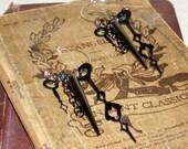 Steam Punk Victorian Industrial Inspired Hoop Ear Wire Earrings Black Metal Clock Hands Spikes Ginas Creations Original