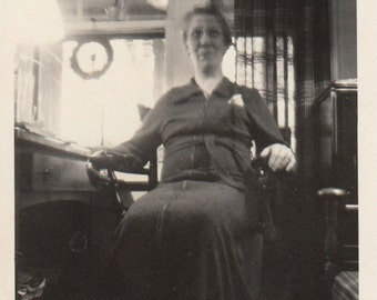 Original Vintage Photograph Older Woman Sitting by Desk in Office ? 1910s-20s