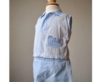 ON SALE 1950s Elephant Check Shirt & Short Set~Size 3 Months