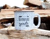 Coffee Mug Camping Mug Stoneware Mug 15oz Mug Ceramic Mug Adventure Awaits Mug Coffee Cup Campfire Mug Cocoa Cup
