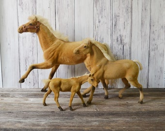 Flocked Horses Fuzzy Horses Horse Family Toy Horses Set of 3 Velvet Horses  Vintage Horses