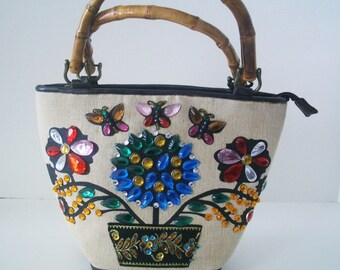 Vintage Braciano Jeweled Bucket bag/Purse