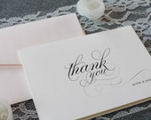 Blush Pink Personalized Wedding Thank You Cards, Newlywed Wedding Thank You, Bridal Shower, Wedding Cards, Pink Wedding - Alyse