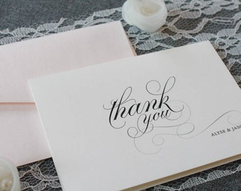 Blush Pink Personalized Wedding Thank You Cards  Newlywed Wedding Thank  You  Bridal Shower Wedding cards   Etsy. Personalized Wedding Cards. Home Design Ideas