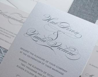 Silver Wedding Invitation, Mixed Metal Wedding Invitation, Simple wedding Invitation, Gold Wedding, Mocha Invitation - Paula & Hub